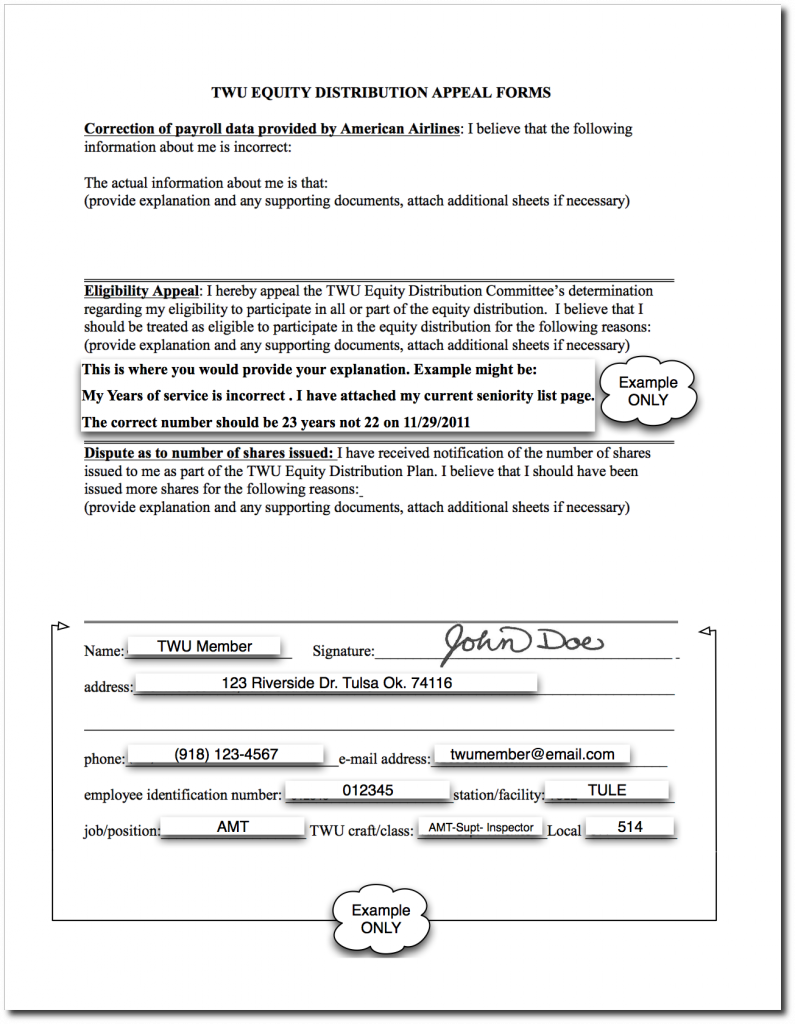 Example Appeal Letter and Form for TWU Equity Distribution