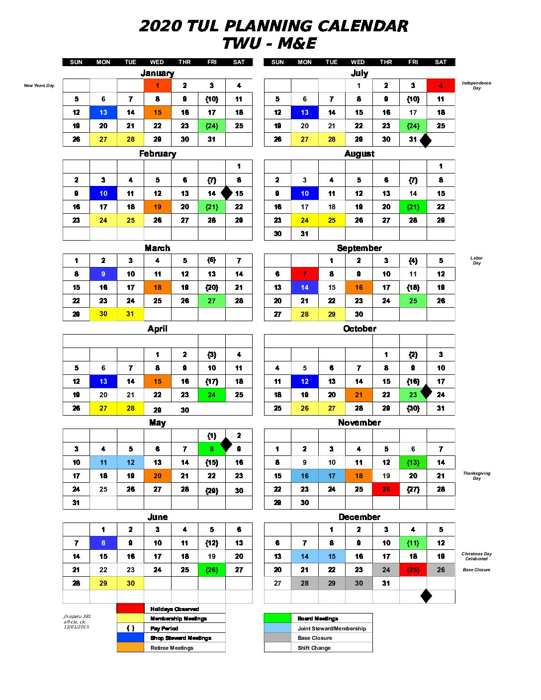TWU 2020 Planning Calendar in PDF